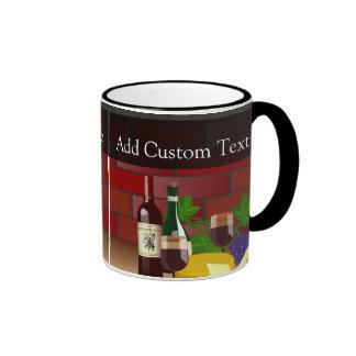 Wine Cheese Table Scene Ringer Mug
