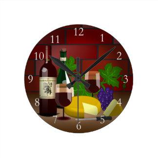 Wine Cheese Table Scene Round Wall Clock