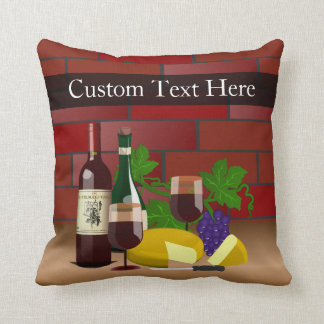 Wine Cheese Table Scene Throw Pillows