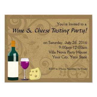 "Wine & Cheese Tasting Party Invitations 4.25"" X 5.5"" Invitation Card"