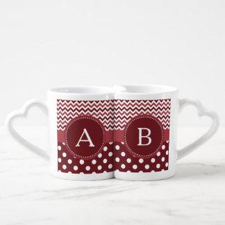 Wine Chevron Polka Dot Coffee Mug Set