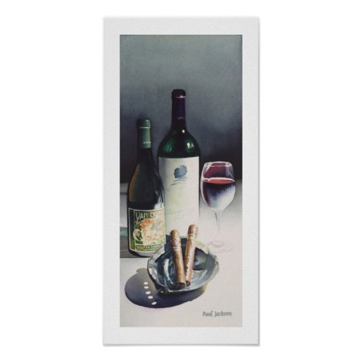"""Wine & Cigars"" Still Life Watercolor Poster"