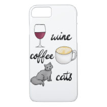 Wine Coffee Cats Case