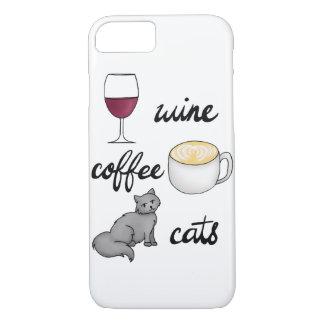 Wine Coffee Cats Case