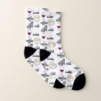 Wine Coffee Cats Socks
