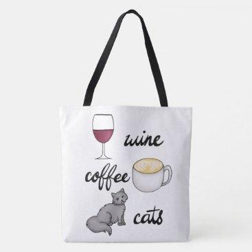 Coffee Themed Wine Coffee Cats Tote