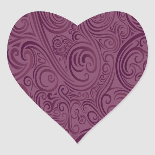 Wine Color Swirls Heart Sticker