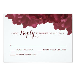 Wine Colored Floral RSVP Card
