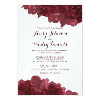 Wine Colored Floral Wedding Invitation