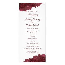 Wine Colored Floral Wedding Program