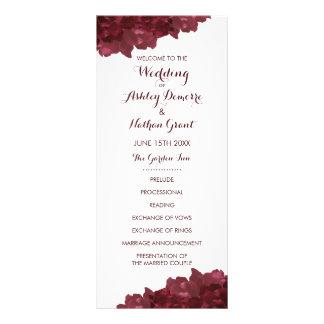 Wine Colored Floral Wedding Program