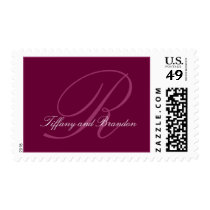 Wine Colored Names and Monogram Postage