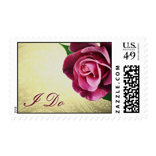 Wine Colored Romantic I Do Rose Wedding Postage