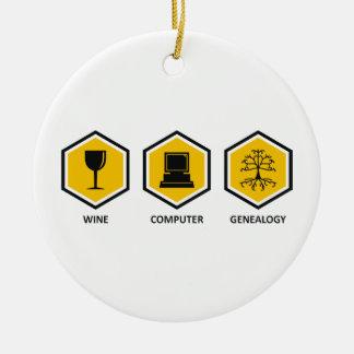 Wine Computer Genealogy Christmas Tree Ornament