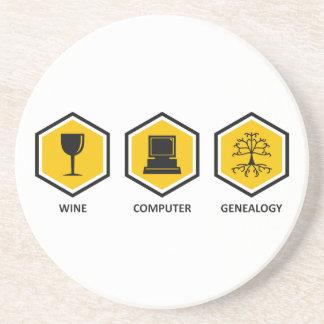 Wine Computer Genealogy Drink Coasters