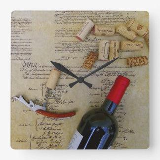 Wine & Constitution Wall Clock! Square Wall Clock