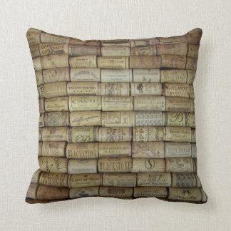 Wine Cork Collage Throw Pillows