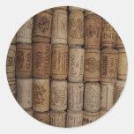Wine Cork Collection Round Stickers