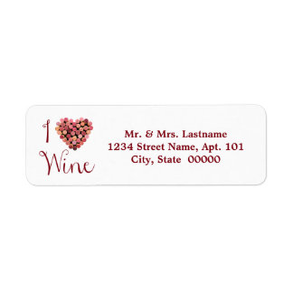 Wine Cork Heart Address Labels