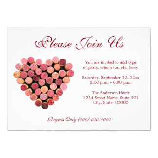 Wine Cork Heart Invitations
