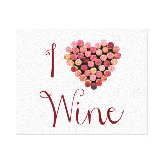 Wine Cork Heart Stretched Canvas Print