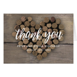 Wine Cork Heart Thank You notes