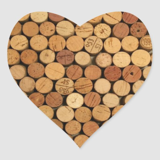 Wine cork pattern heart sticker zazzle for Wine cork patterns