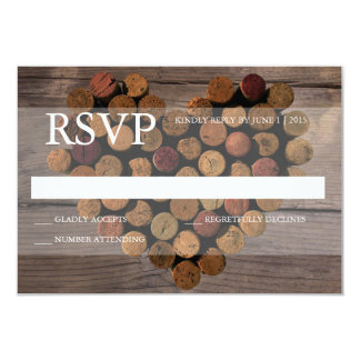 Wine cork rustic RSVP card