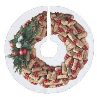 Wine Cork Wreath with Evergreen Faux Linen Tree Skirt