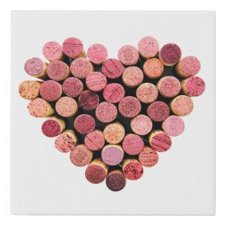 Wine Corks Heart Faux Canvas Print