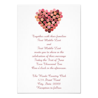 Wine Corks Heart Wedding Invitations