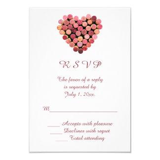 Wine Corks Heart Wedding RSVP Card