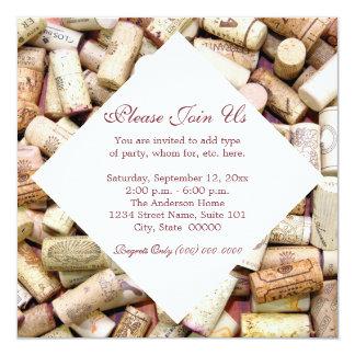 """Wine Corks Invitations 5.25"""" Square Invitation Card"""