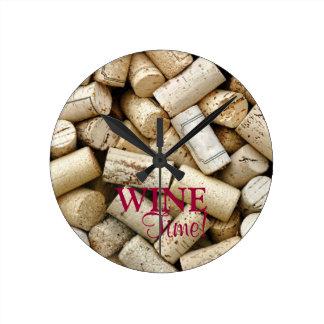 Wine Corks-Wine Time! Round Clock