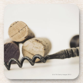 Wine corks with corkscrew beverage coaster