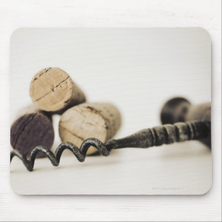 Wine corks with corkscrew mouse pad