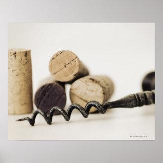 Wine corks with corkscrew print