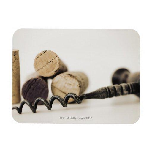 Wine corks with corkscrew rectangular photo magnet