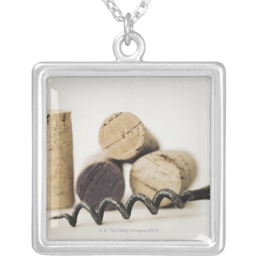 Wine corks with corkscrew silver plated necklace