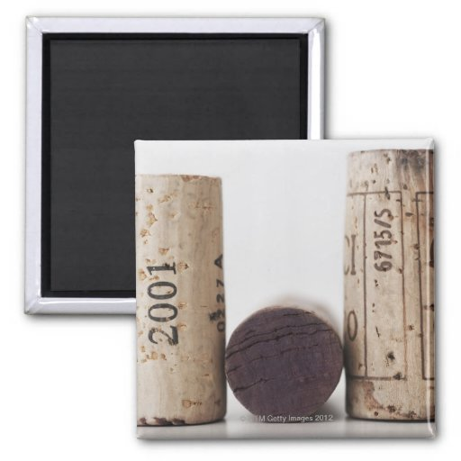 Wine corks with dates 2 inch square magnet