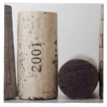 Wine corks with dates large square tile