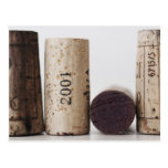 Wine corks with dates post card