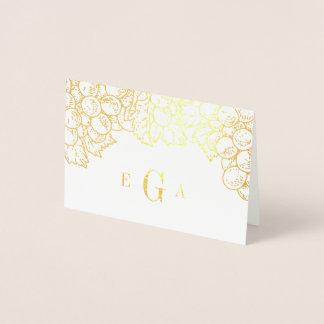 Wine Country Monogrammed Gold Foil Stationery Card