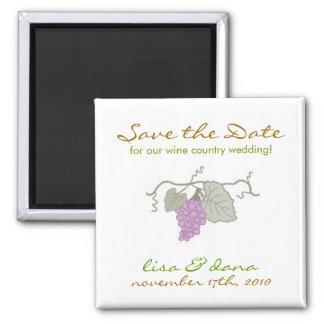 Wine Country Wedding grape vine 2 Inch Square Magnet