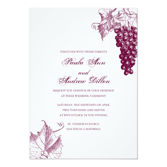 Together With Their Parents Wedding Invitation: Wine Country Wedding Invitation