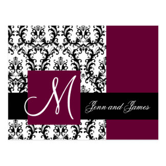 Wine Damask Save the Date Wedding Announcement Postcard