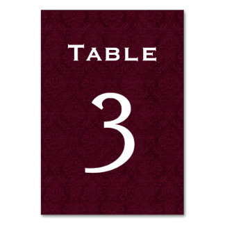 Wine Damask Wedding Table Number 3 Table Card