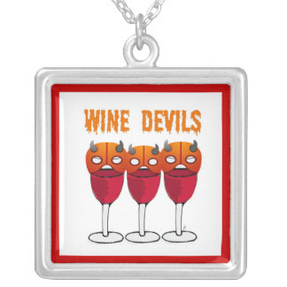 WINE DEVILS RED WINE AND DEVIL MASK PRINT SQUARE PENDANT NECKLACE
