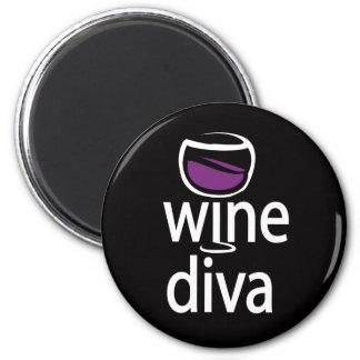 Wine Diva 2 Inch Round Magnet