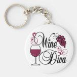 Wine Diva Basic Round Button Keychain